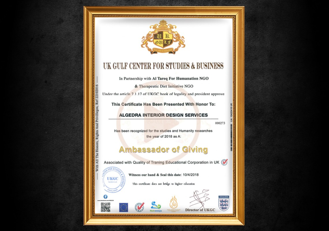 Algedra awarded ambassador of giving Certificate