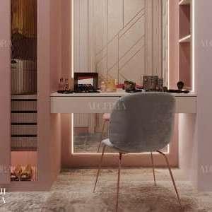 تصميم خزانة الملابس مع منضدة الزينة