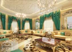 Majlis Design with Green Drapery
