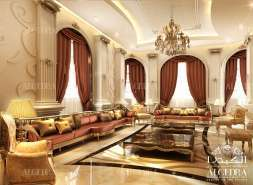 Majlis Design with Red Drapery