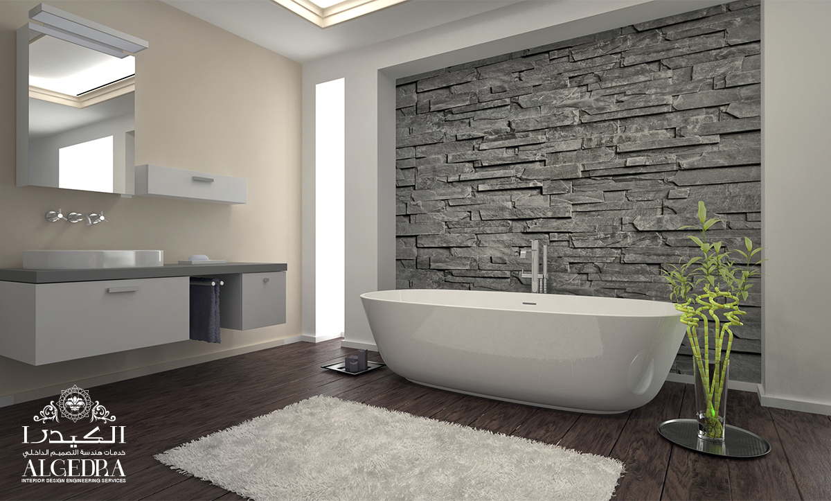 Wooden & white color Bathroom Design