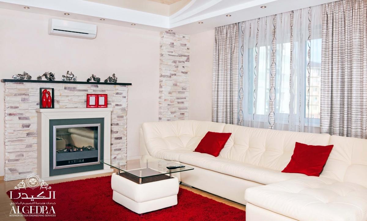 Red & White Living Room
