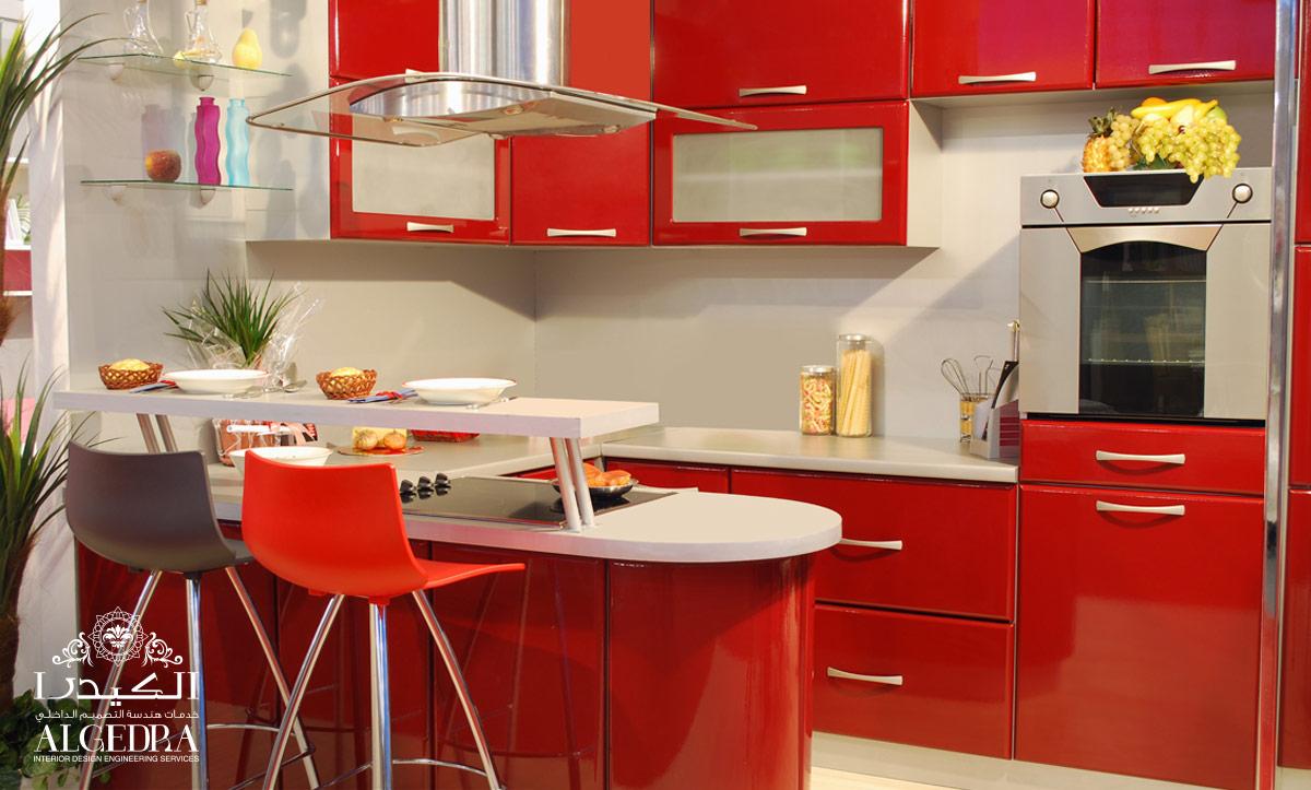 red kitchen design